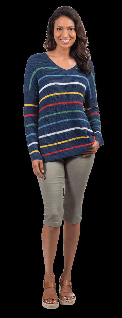 Stripe V-Neck Sweater look
