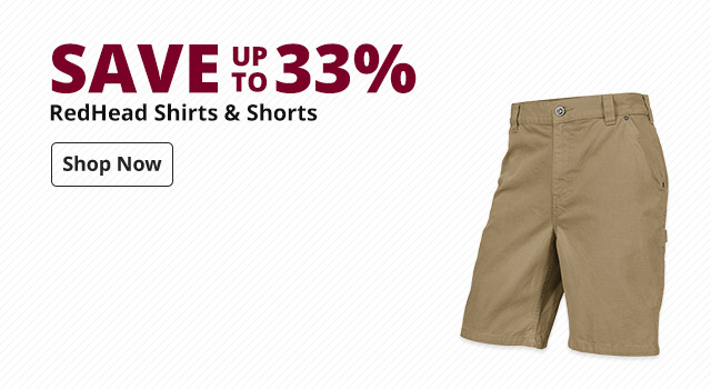 Save up to 33% RedHead Shirts & Shorts