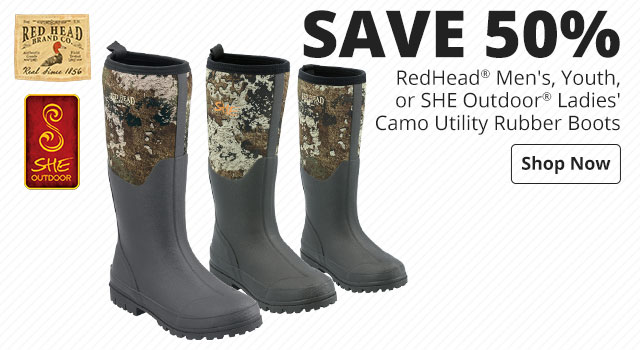 Save $30 RedHead® Men's, Youth, or SHE Outdoor® Ladies' Camo Utility Rubber Boots