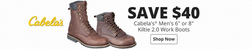 Save $40 Cabela's® Men's 6'' or 8'' Kiltie 2.0 Work Boots for Men