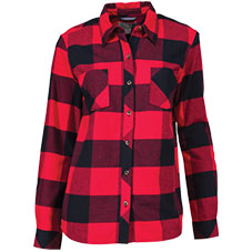 Natural Reflections Acid-Washed Plaid Long-Sleeve Shirt for Ladies