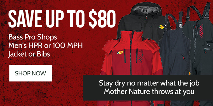 Save up to $80 Bass Pro Shops Men's HPR or 100 MPH Jacket or Bibs