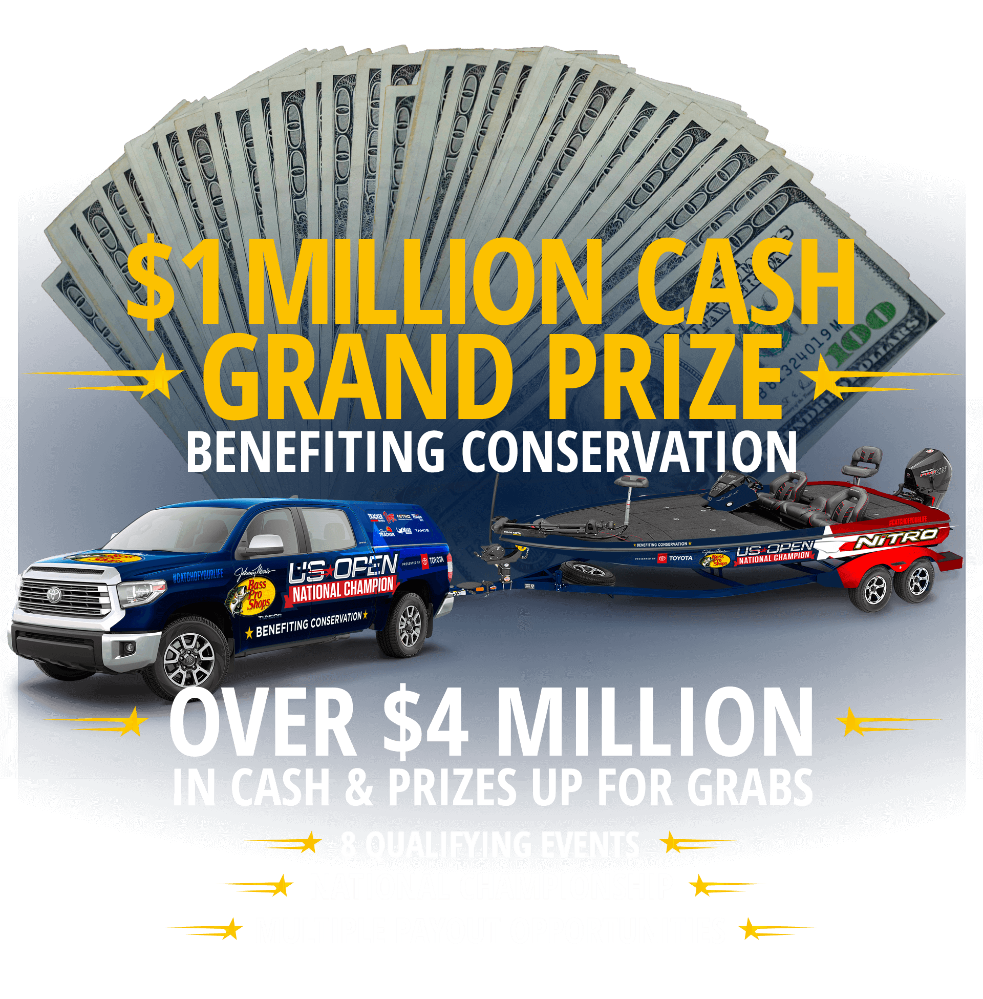 $1 Million Grand Prize - Biggest bass wins a new Toyota truck & bass boat