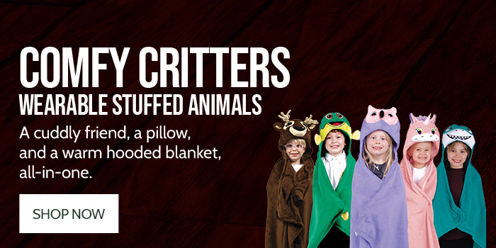 Comfy Critters Wearable Stuffed Animals