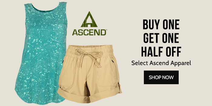 Buy One Get one Half off Select Ascend Apparel