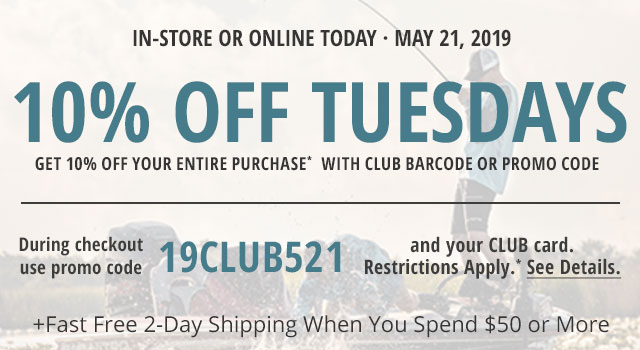 10% off on your entire ONLINE purchase of $50 or more every Tuesday in May, 2019