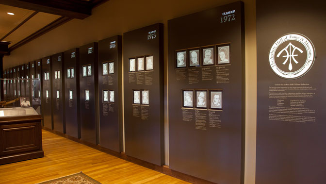 Etched portraits of the Archery Hall of Fame members line the wall