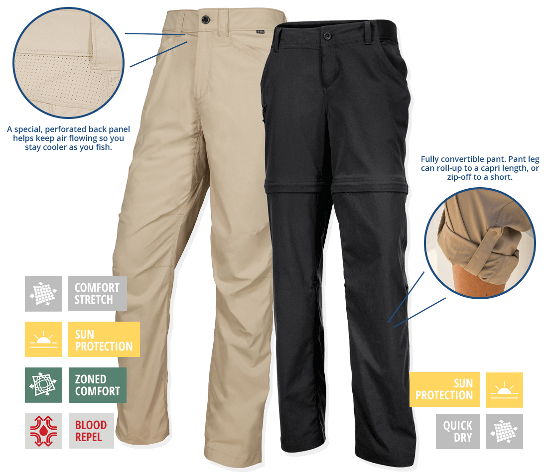 Sportsman Crest Pants for Men & Clearwater Convertible Pants for Ladies