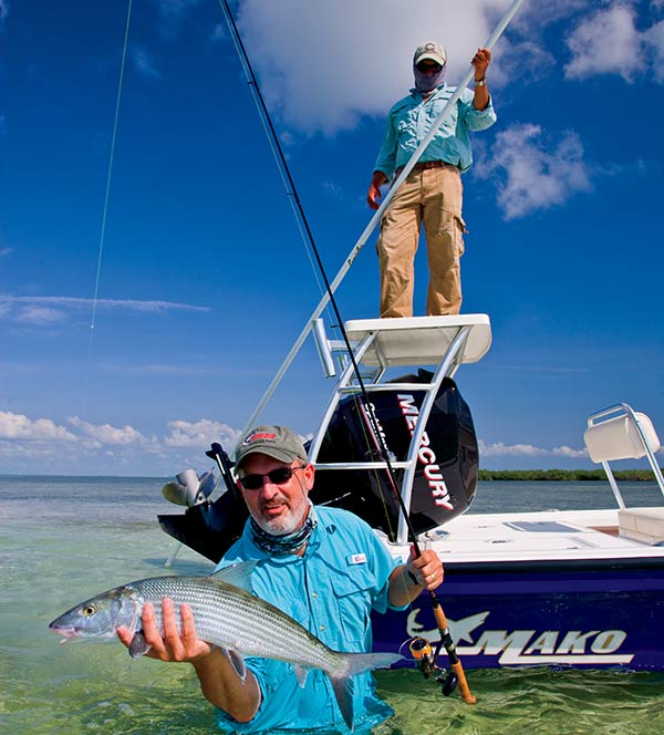 Bonefish guide and client