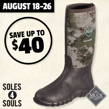 August 18-26 Save uo to $40 when you trade in hunting boots