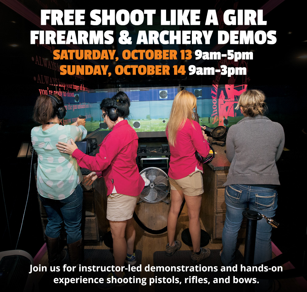 Free Shoot Like a Girl Demos - Saturday, October 13 9am-5pm & Sunday, October 14 9am-3pm